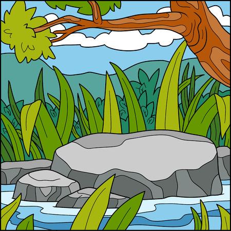 natural color: Vector illustration, natural color background (Pond)