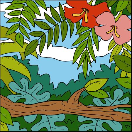 Vector illustration, color background, tropical forest with flowers Ilustração