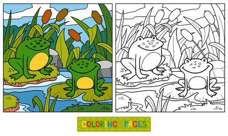 (2 つのカエルと背景) の子供のための塗り絵