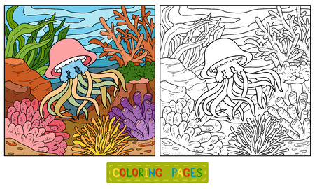 beach scene: Coloring book for children (jellyfish and background)