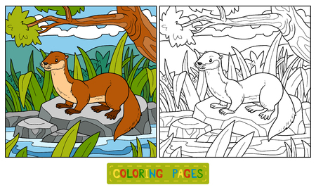 cartoon trees: Coloring book for children (otter and background)