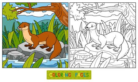 arboles caricatura: Libro para colorear para los niños (nutria y de fondo) Vectores