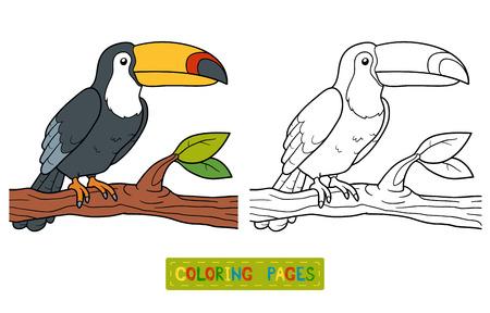 animales de la selva: Libro para colorear, juego de la educación para los niños (tucán)