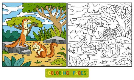 (地上リス、xerus) の子供のための塗り絵
