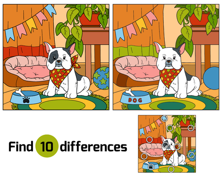 house work: Find differences, education game for children (french bulldog and background)