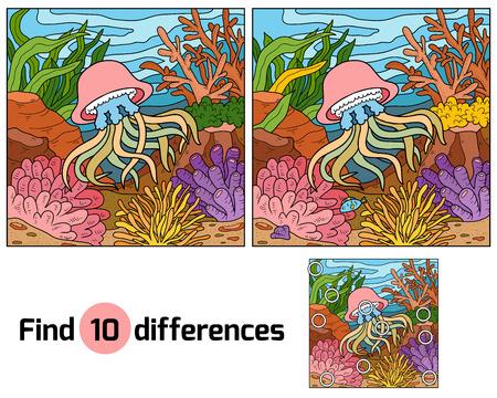 Trouver des différences, l'éducation jeu pour les enfants (méduses et fond)