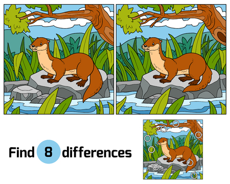 stoat: Find differences, education game for children (otter and background)