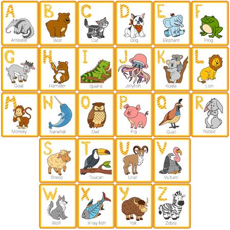 alfabeto con animales: El alfabeto del color de zool�gico con animales divertidos, tarjetas rectangulares