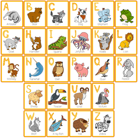 Vector color zoo alphabet with cute animals, rectangular cards