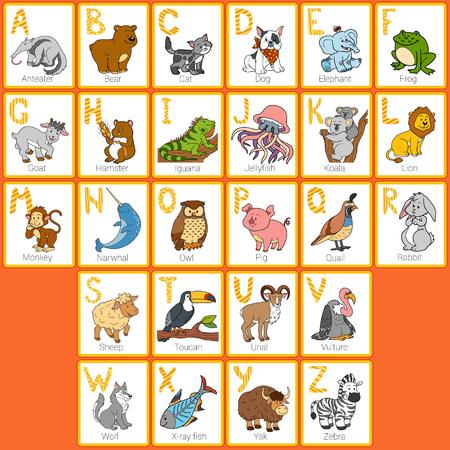 El alfabeto del color de zoológico con animales divertidos, tarjetas rectangulares Foto de archivo - 51702495