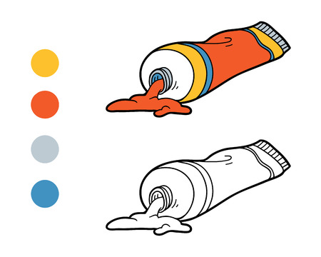 school illustration: Coloring book, education game for children (tubes of paint) Illustration