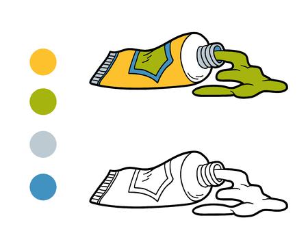 paleta de pintor: libro para colorear, juego de la educación para los niños (tubos de pintura)