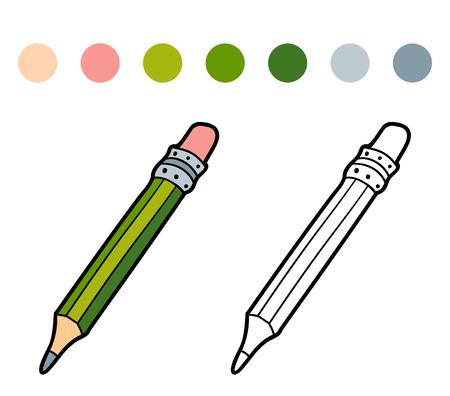 Esquema De Libro Para Colorear De Lápiz Y Sacapuntas Ilustraciones ...
