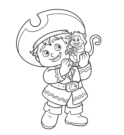 black boys: Coloring book, education game for children (pirate boy and monkey) Illustration