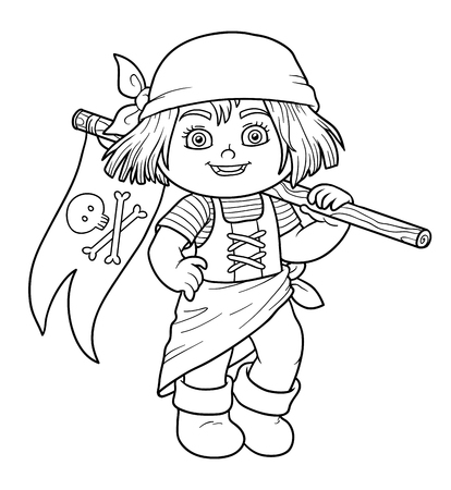 pirate girl: Coloring book, education game for children (pirate girl and flag) Illustration