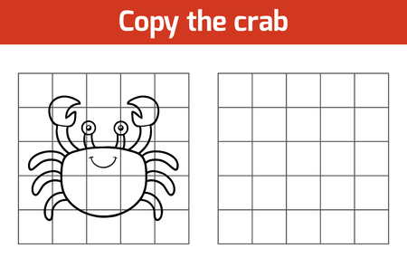 copies: Copy the picture, education game for children (crab) Illustration