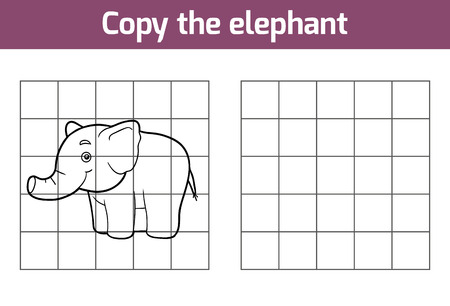 copies: Copy the picture, education game for children (elephant)
