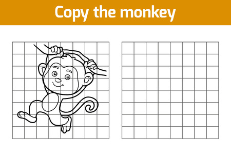monkey on a tree: Copy the picture, education game for children (monkey)