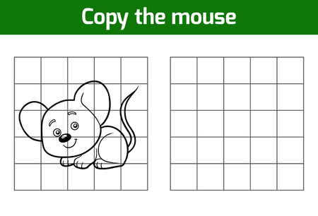 rata caricatura: Copy the picture, education game for children (mouse) Vectores
