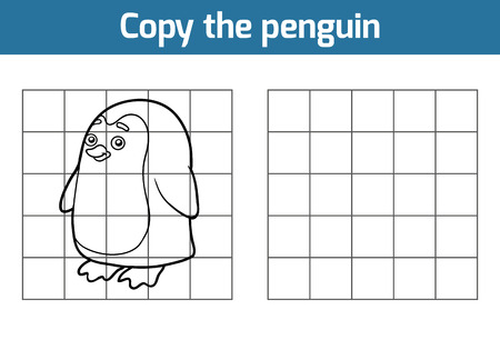 cartoon hands: Copy the picture, education game for children (penguin)