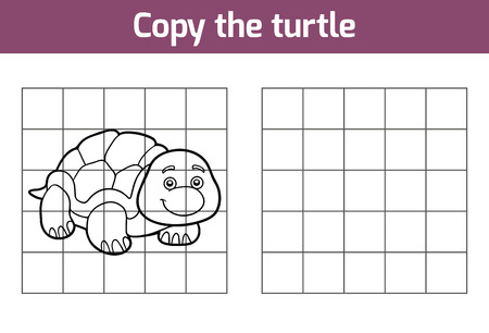 Copiare l'immagine, gioco istruzione per i bambini (tartaruga) Vettoriali