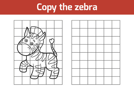 zoo animal: Copy the picture, education game for children (zebra) Illustration
