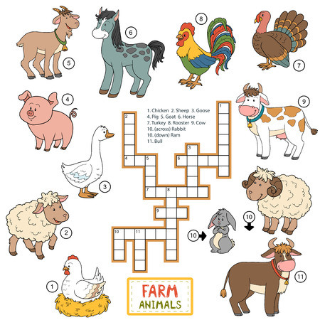 domestic animals: Vector color crossword, education game for children about farm animals