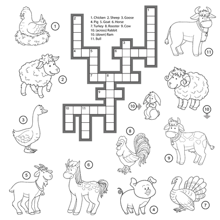 family human: Vector colorless crossword, education game for children about farm animals
