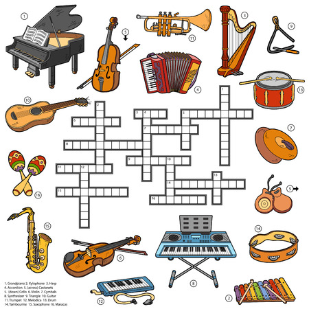 Color crossword, education game for children about music instruments Illustration