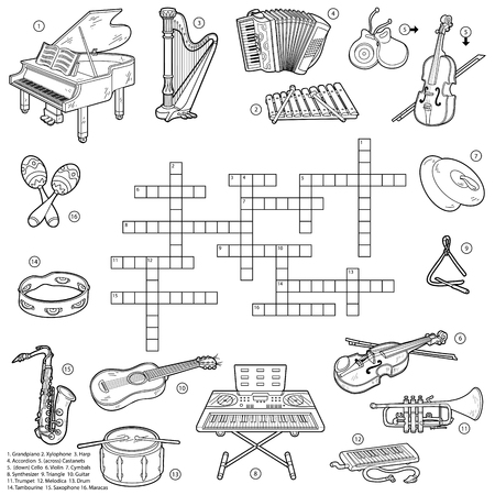 Colorless crossword, education game for children about music instruments Ilustração