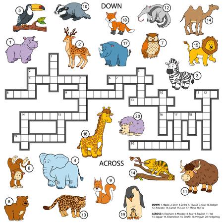 hipopotamo caricatura: Ilustraci�n de color crucigrama, juego de la educaci�n para los ni�os sobre los animales
