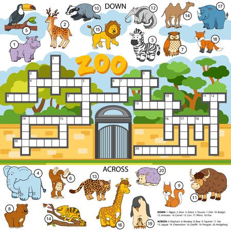 hipopotamo caricatura: Ilustración de color crucigrama, juego de la educación para los niños sobre los animales