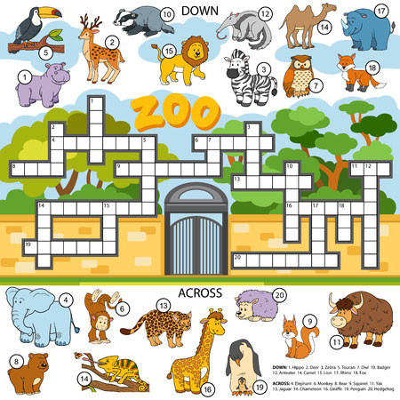owl illustration: Vector color crossword, education game for children about animals Illustration