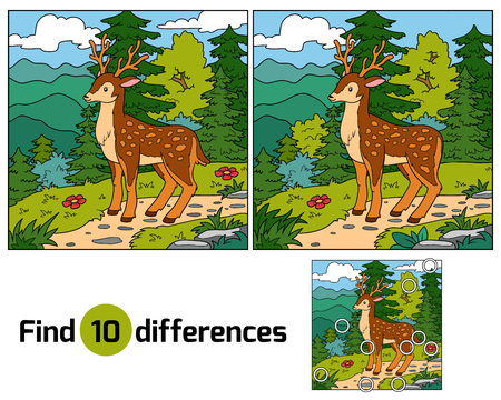 deer cartoon: Find differences, education game for children (deer and background)