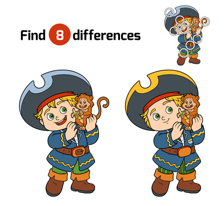 black boy: Find differences, education game for children (pirate boy and monkey)