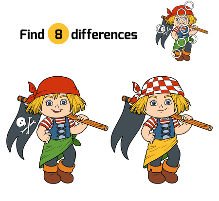 pirate girl: Find differences, education game for children (pirate girl and flag)