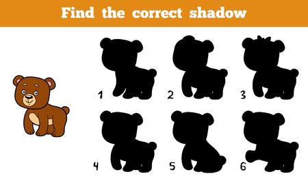 educativo: Encuentra la sombra correcta, juego de la educación para los niños (oso)