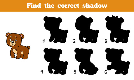 educational: Find the correct shadow, education game for children (bear)