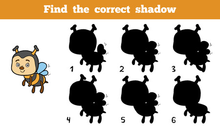 educational: Find the correct shadow, education game for children (bee) Illustration