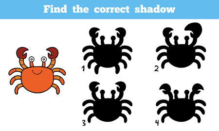 correct: Find the correct shadow, education game for children (crab)