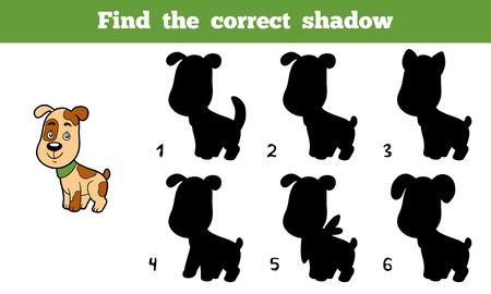 lijntekening: Zoek de juiste schaduw, onderwijs spel voor kinderen (hond)