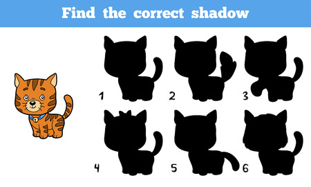 activity cartoon: Find the correct shadow, education game for children (cat)