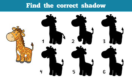 correct: Find the correct shadow, education game for children (giraffe) Illustration