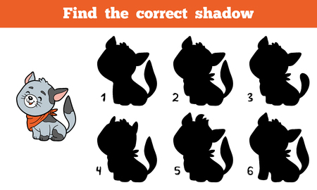 animal silhouette: Find the correct shadow, education game for children (cat)