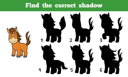 Trova l'ombra corretta, gioco istruzione per i bambini (cavallo) Vettoriali