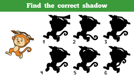 activity cartoon: Find the correct shadow, education game for children (monkey)