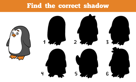 correct: Find the correct shadow, education game for children (penguin)