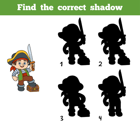 toy chest: Find the correct shadow, education game for children (pirate boy and chest)