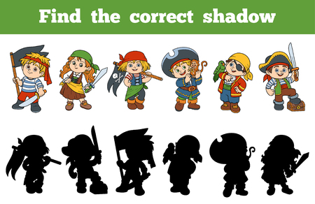 quiz test: Find the correct shadow, education game for children (set of characters pirates)