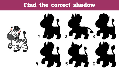 shadow silhouette: Find the correct shadow, education game for children (zebra)